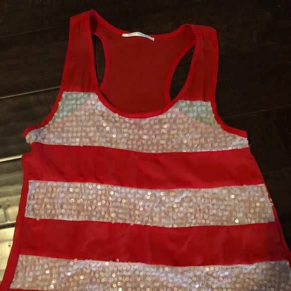 must have Tops - Red and cream sequin Racerback shirt